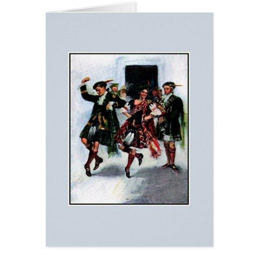 Scottish kilt dance book illustration greeting cards