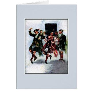 Scottish kilt dance book illustration greeting card