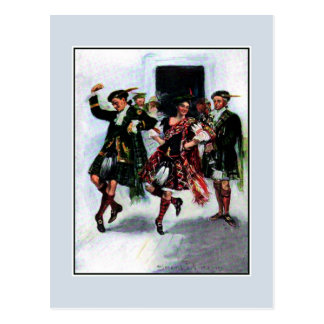 Scottish kilt dance book illustration postcard