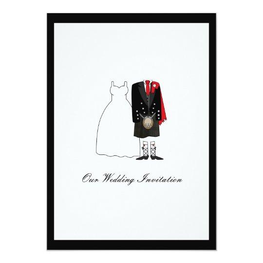 Scottish Kilt Wedding Invitation - Red