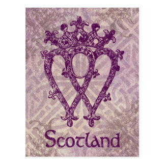 Scottish Luckenbooth Purple Celtic Knot Postcard