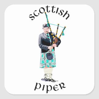Scottish Piper - Turquoise Plaid Square Sticker