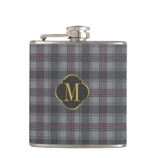 Scottish plaids grey hip flask
