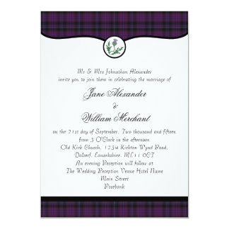 Scottish Purple Tartan Plaid & Thistle Wedding 13 Cm X 18 Cm Invitation Card