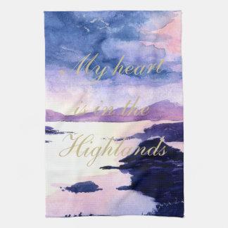Scottish Quote Purple Watercolour Tea Towel