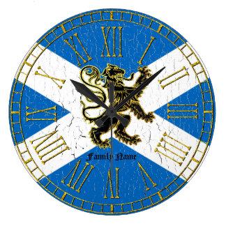 Scottish Rampant Flag Personalize Large Clock