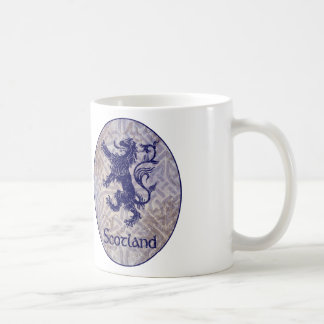 Scottish Rampant Lion Navy Blue Celtic Knot Coffee Mug