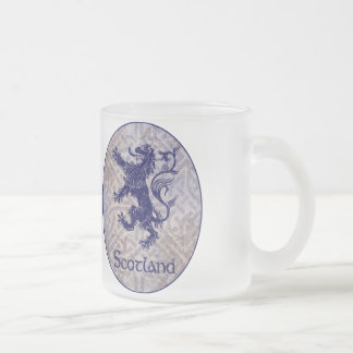 Scottish Rampant Lion Navy Blue Celtic Knot Frosted Glass Mug