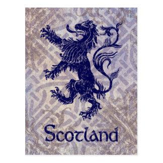 Scottish Rampant Lion Navy Blue Celtic Knot Postcard