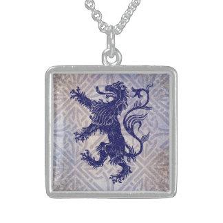 Scottish Rampant Lion Navy Blue Celtic Knot Square Pendant Necklace