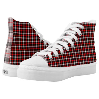 Scottish Red White Bla Zipz High Top Shoes-US Men Printed Shoes