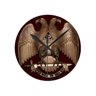 Scottish Rite 32 degree Mason Double Eagle Red Round Clock