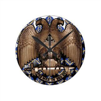 Scottish Rite Square & Compass Black White Diagona Wall Clock