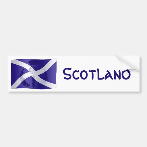 Scottish Saltire Flag with Celtic Knot Thistle Bumper Stickers