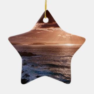 Scottish Sunset, North Coast of Scotland Ceramic Ornament