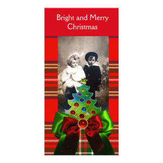 SCOTTISH TARTAN,CHRISTMAS TREE AND RED GREEN BOWS PHOTO CARDS