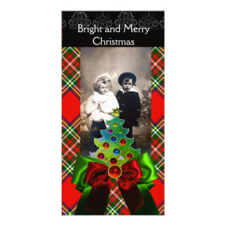 SCOTTISH TARTAN,CHRISTMAS TREE AND RED GREEN BOWS PHOTO CARD TEMPLATE