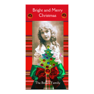 SCOTTISH TARTAN,CHRISTMAS TREE AND RED GREEN BOWS PERSONALIZED PHOTO CARD