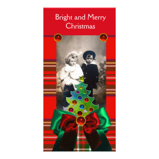 SCOTTISH TARTAN,CHRISTMAS TREE AND RED GREEN BOWS PICTURE CARD