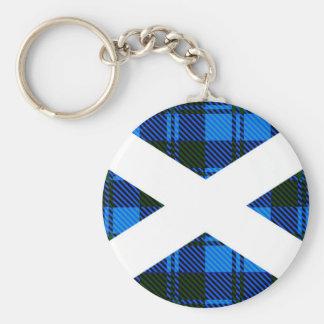 Scottish Tartan Flag Basic Round Button Key Ring