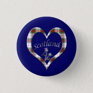 Scottish Tartan Heart Thistle Button