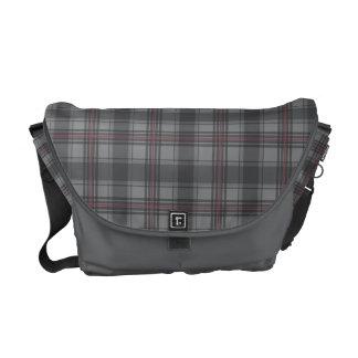 Scottish tartan plaid dark grey courier bag