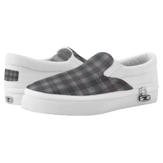 Scottish tartan plaid dark grey Slip-On shoes