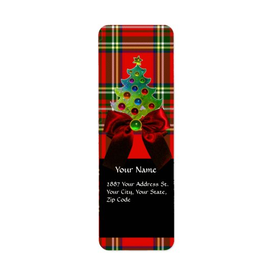 SCOTTISH TARTAN ,RED GREEN BOWS AND CHRISTMAS TREE RETURN ADDRESS LABEL