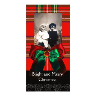 SCOTTISH TARTAN,RED GREEN BOWS XMAS PHOTO TEMPLATE PHOTO CARDS
