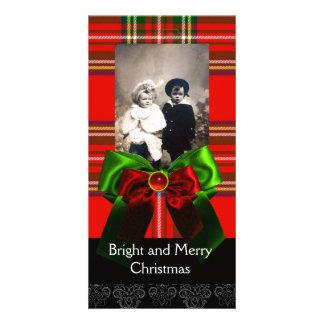 SCOTTISH TARTAN,RED GREEN BOWS XMAS PHOTO TEMPLATE CUSTOM PHOTO CARD