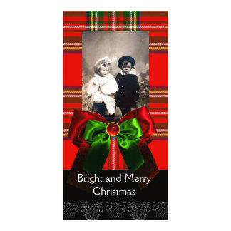 SCOTTISH TARTAN,RED GREEN BOWS XMAS PHOTO TEMPLATE PHOTO GREETING CARD