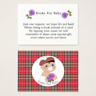 Scottish Tartan  Thistle Baby Shower Books Request Business Card
