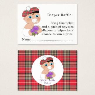 Scottish Tartan  Thistle Baby Shower Diaper Raffle Business Card