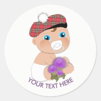 Scottish Tartan  Thistle Baby Shower Personalized Classic Round Sticker