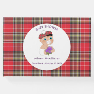 Scottish Tartan  Thistle Baby Shower Personalized Guest Book