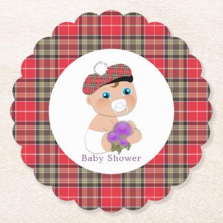 Scottish Tartan |Thistle Baby Shower Personalized Paper Coaster