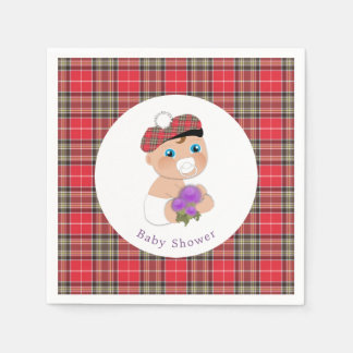 Scottish Tartan |Thistle Baby Shower Personalized Paper Napkins