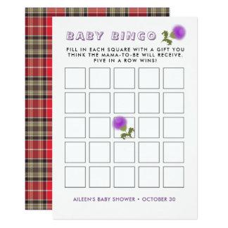 Scottish Tartan  Thistle Flower Baby Shower Bingo Card