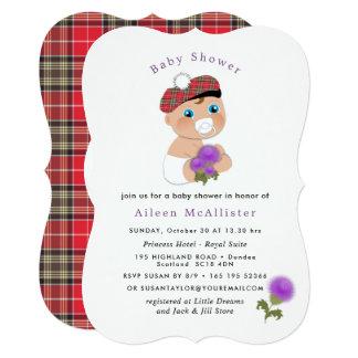 Scottish Tartan  Thistle Flower Cute Baby Shower Card