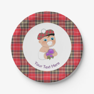 Scottish Tartan |Thistle Flower Cute Baby Shower Paper Plate