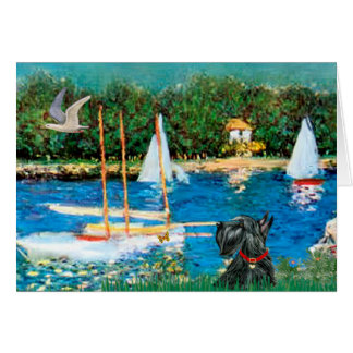 Scottish Terrier 12 - Sailboats Card