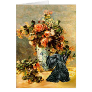 Scottish Terrier 12 - Vase of Flowers Card