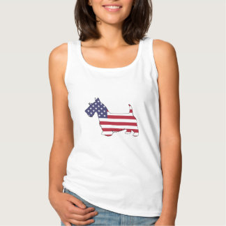 """Scottish terrier - """"american flag"""" singlet"""