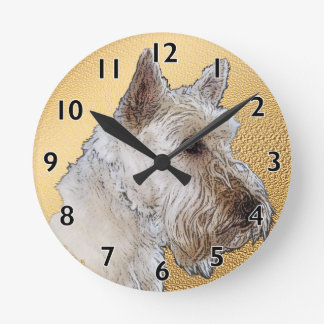 Scottish Terrier Art Round Clock