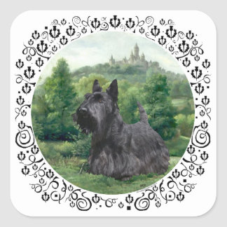 Scottish Terrier at Fairy Tale Castle Square Sticker