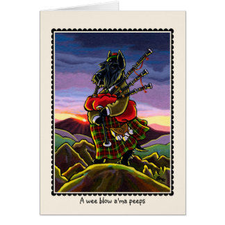 Scottish Terrier Bagpipe Dog Notecard