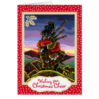 Scottish Terrier Bagpipes Christmas Card