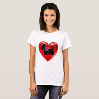 Scottish Terrier black double red heart/pink bow T-Shirt