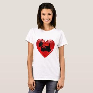 Scottish Terrier black double red heart T-Shirt