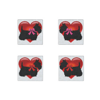 Scottish Terrier black/heart red bow/pink bow Stone Magnet